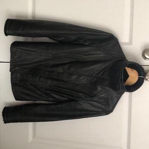 Ted Baker London black leather Moto jacket